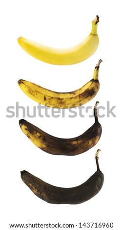 Fresh yellow spotless banana in a process of decompose rottening isolated over white background, set of four images - stock photo