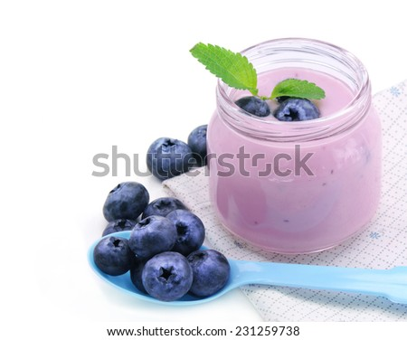 Fresh yogurt and blueberry berries. - stock photo