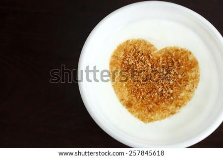 Fresh yogurt with wheat bran - stock photo