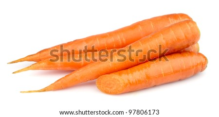 Fresh young carrots on white close up