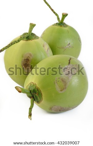 fresh young coconut on white background