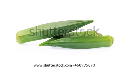 Fresh young okra isolated on white background
