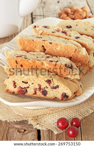 Freshly baked almond and cranberry biscotti. Also available in horizontal. - stock photo