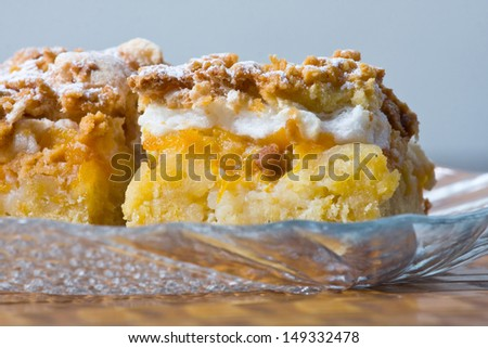 Freshly baked apple pie, close up