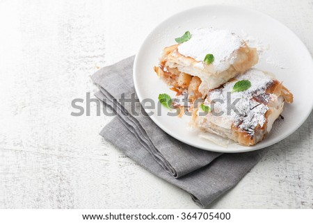 freshly baked apple strudel garnished with sugar and mint leaves. With copy space