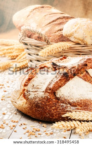 Freshly baked bread in rustic setting