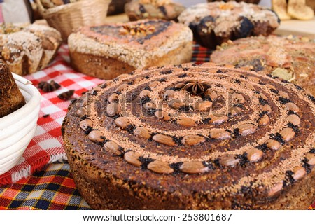 freshly baked bread with herbs