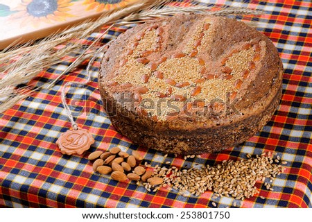 freshly baked bread with herbs - stock photo