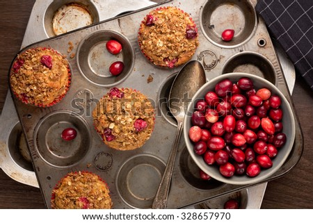 Freshly baked cranberry muffins with oatmeal crumble topping in a rustic muffin tin.