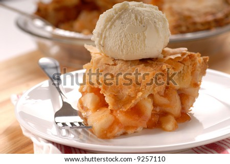 Freshly baked deep dish apple pie a la mode - stock photo