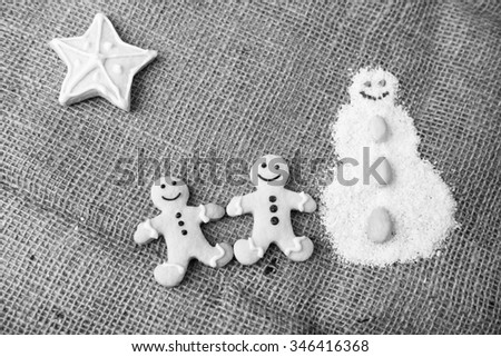 freshly baked delicious christmas cookies - stock photo