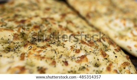 Freshly baked Garlic and herb flat bread.