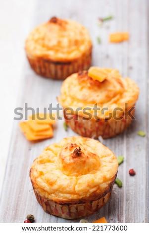Freshly baked homemade muffins - stock photo