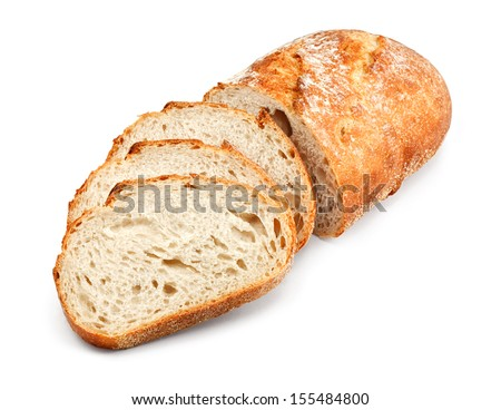 freshly baked homemade tradtional hand sliced bread - stock photo