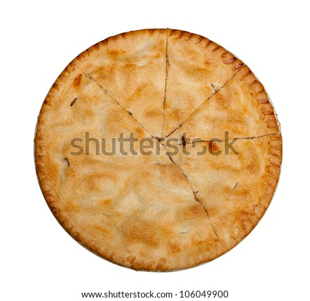 Freshly baked hot apple pie isolated against white with path - stock photo