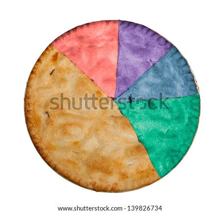 Freshly baked hot apple pie isolated against white with path for segments and colors to show example of statistical pie chart with proportional slices - stock photo
