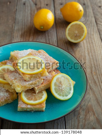 Freshly baked lemon squares - stock photo