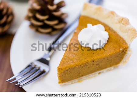 Freshly baked pumpkin pie from the local supermarket.