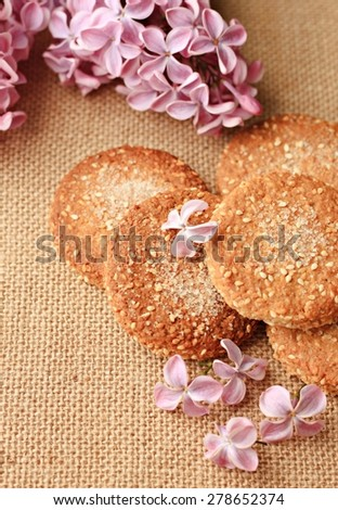 freshly baked shortcrust, cookies summer flowers decoration - stock photo