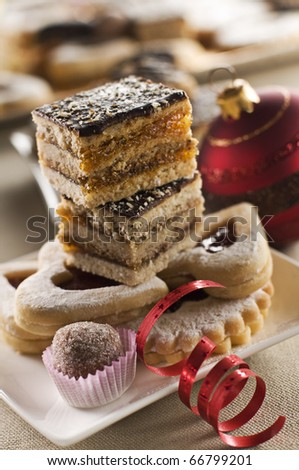 Freshly baked sweets for christmas close up