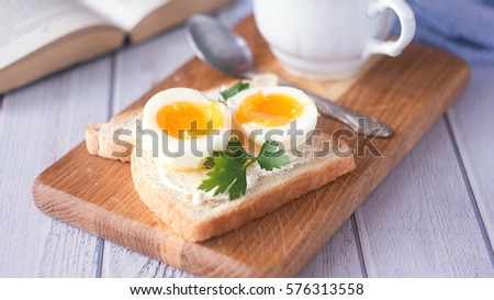 freshly boiled white egg on wooden board. Healthy fitness breakfast.