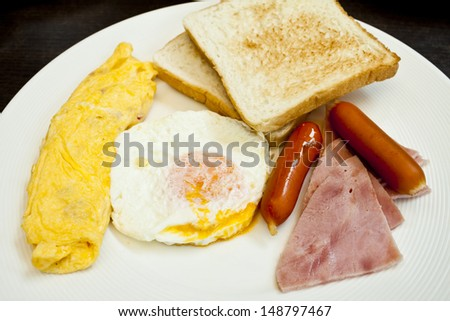 Freshly cooked breakfast with sausages