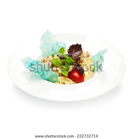 Freshly cooked, pasta with chicken, basil, tomato and cheese, on a plate on a white background - stock photo