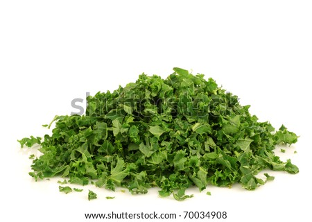 freshly cut kale cabbage on a white background