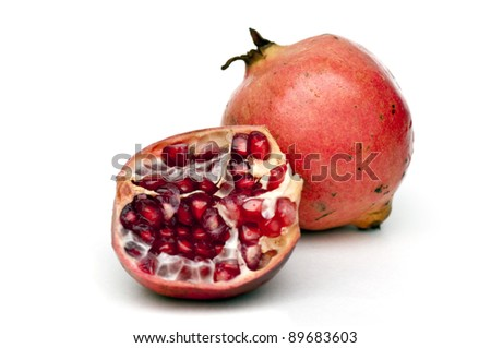 Freshly cut pomegranate ready to be served