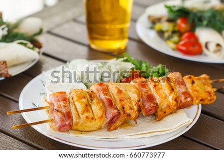 Freshly delicious ready to eat shashlik. Russian food