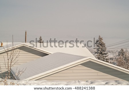 Freshly fallen snow on two roofs stands out against an overcast sky