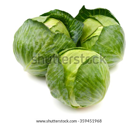 freshly green cabbage on white background