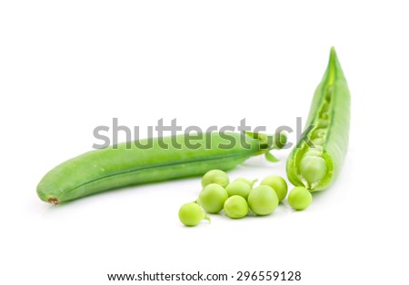 freshly green sugar snap peas on white background  - stock photo