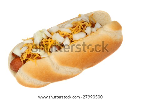 Freshly grilled chili cheese hot dog with onions - stock photo