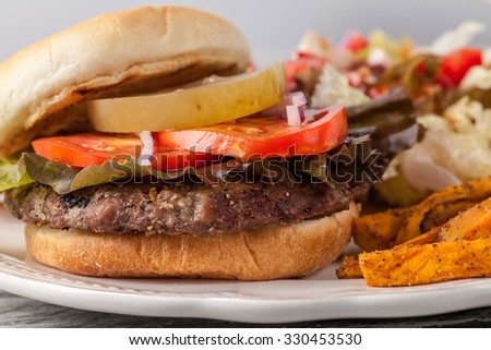 Freshly grilled hamburger with cheddar cheese, organic tomatoes and lettuce, red onion, dill pickle and toasted bun with homemade oven baked sweet potato fries with an organic salad macro shot - stock photo