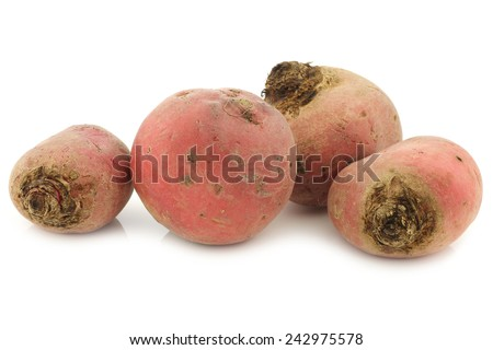 freshly harvested red beet roots on a white background - stock photo