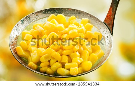 Freshly harvested ripe cooked corn kernels in a rustic metal ladle rich in carbohydrates and starch and a staple vegetable - stock photo