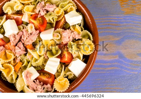 Freshly homemade pasta salad, a cold summer meal - stock photo