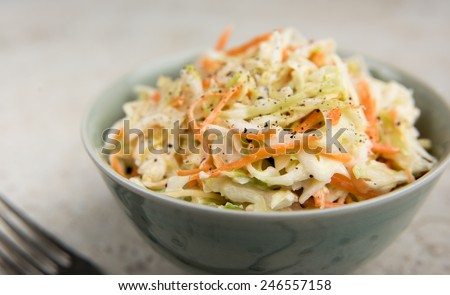Freshly Made Coleslaw in Bowl - stock photo