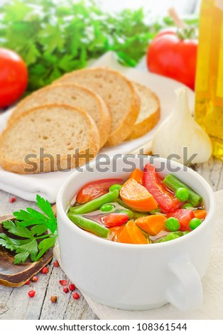 Freshly made healthy vegetable soup - stock photo