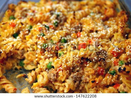 Freshly made ??pasta with vegetables, ready to eat. /Pasta with vegetables - stock photo