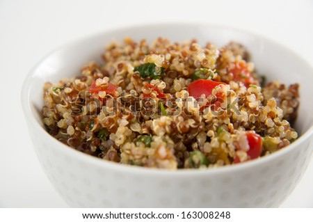 Freshly Made Quinoa Tabouli in Simple White Bowl - stock photo