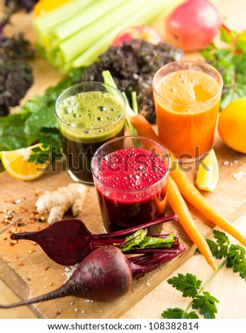 Freshly Made Vegetable Juices for Healthy Nutritious Meal - stock photo