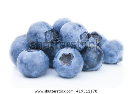 Freshly picked blueberries - close up shot - stock photo