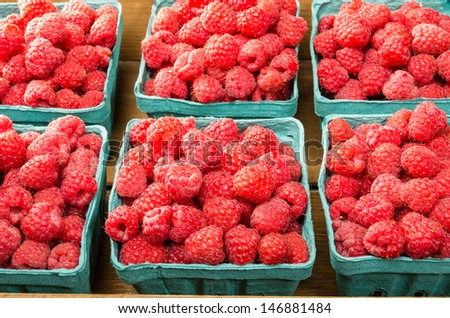 Freshly picked red raspberries on display at the farmers market - stock photo