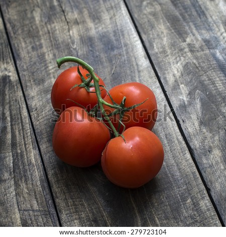 Freshly picked ripe red tomatoes off the vine lying on an old rustic wooden garden table - stock photo