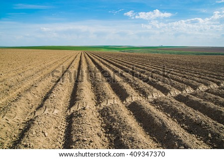 Freshly plowed farm field