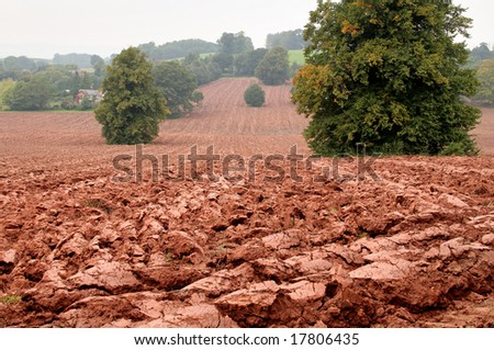 Freshly Plowed Field of red soil in rural England with Farmhouse in the background