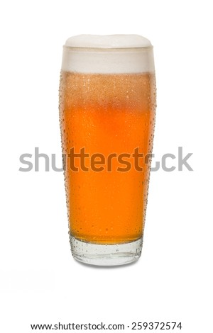Freshly Poured Craft Pub Beer Glass #4 with Condensation  - stock photo