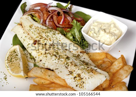 freshly prepared plate of fish and fries - stock photo